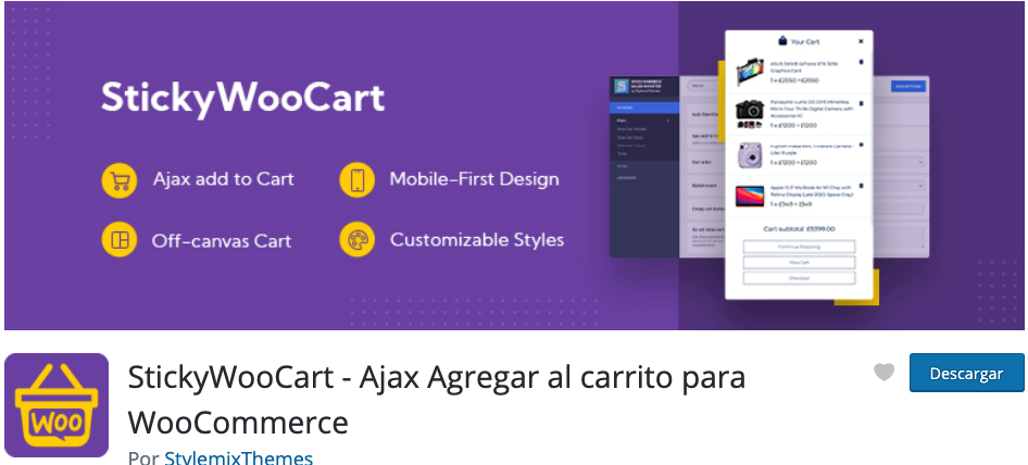StickyWooCart – Ajax Add to Cart for WooCommerce