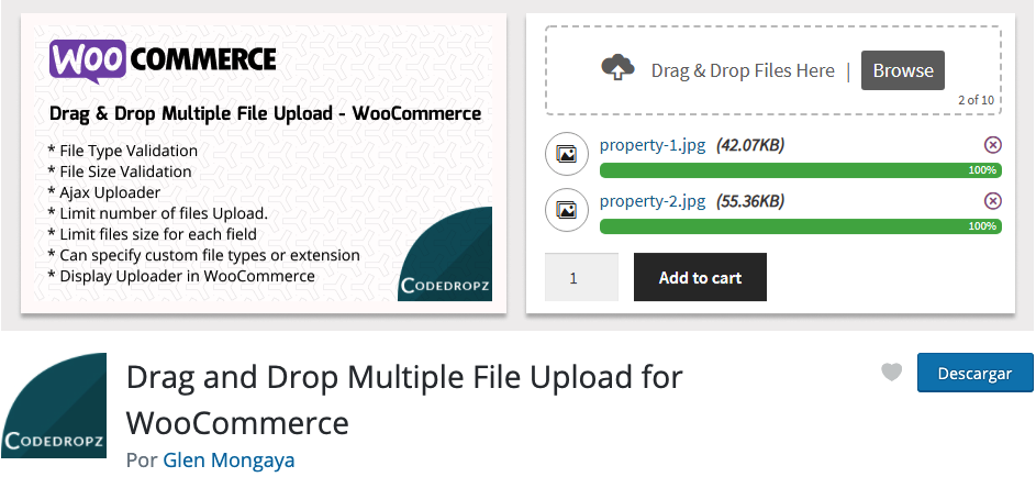 drang and drop multiple file upload for woocommerce